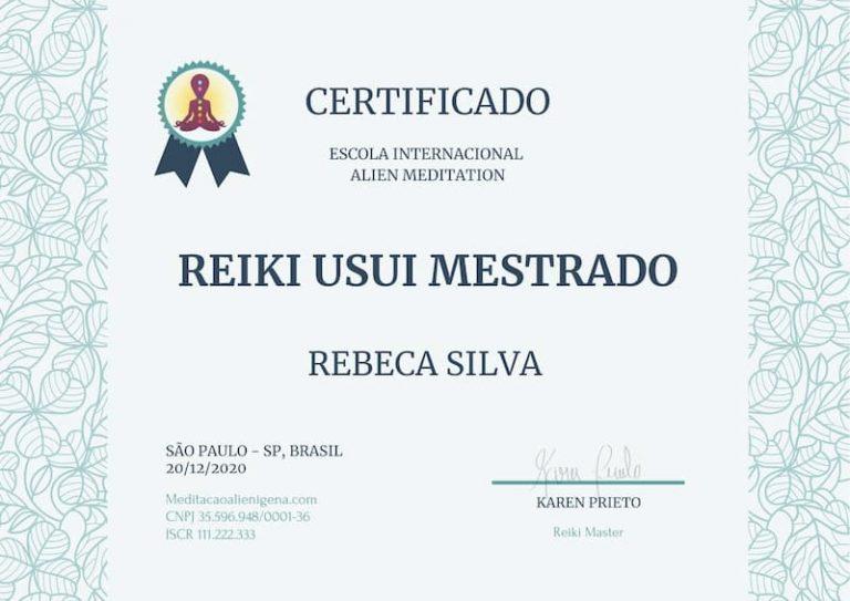 para mostrar como é o certificado internacional de meditação alienígena